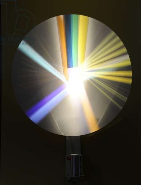 Moving disc with projected light, c.1980 (mixed media)