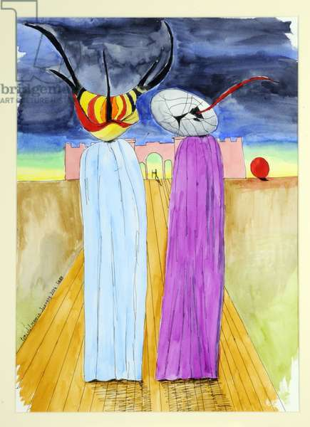 Two Figures, 1999 (pen & ink and w/c on paper)
