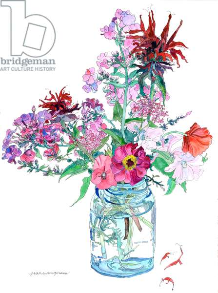 Bee balm and Poppies in a Glass Jar, 2009 (w/c & ink on paper)