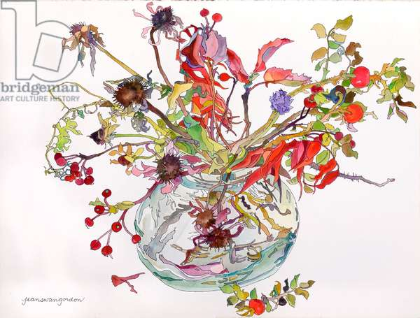 Last of Autumn Color in Glass Bowl (w/c & ink on paper)