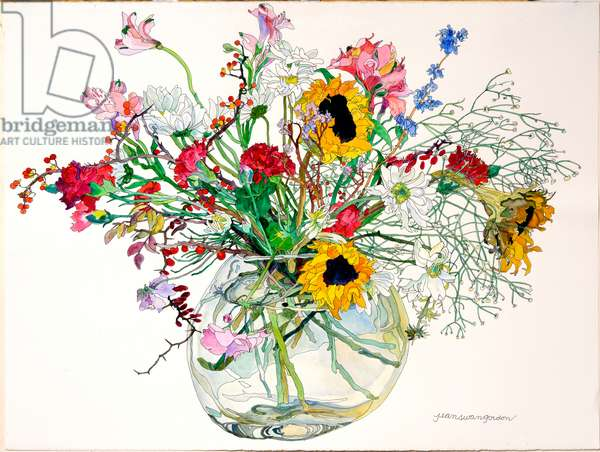 Late Summer in Glass Bowl (w/c & ink on paper)