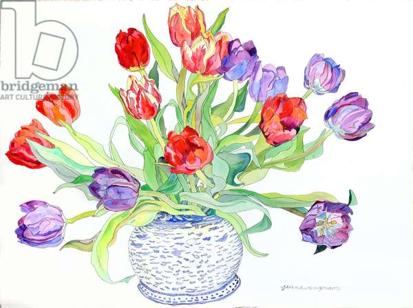 Tulips in Bowl With Painted Fish & Bird Design, 2006 (w/c & ink on paper)