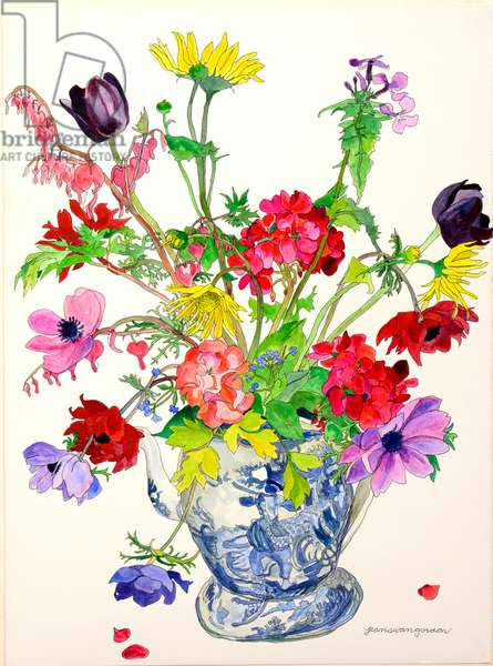 Spring in an Old English Pitcher, 1996 (w/c & ink on paper)