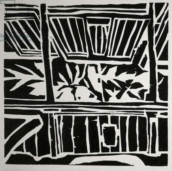 The Window, Fiji, 1963 (woodcut)