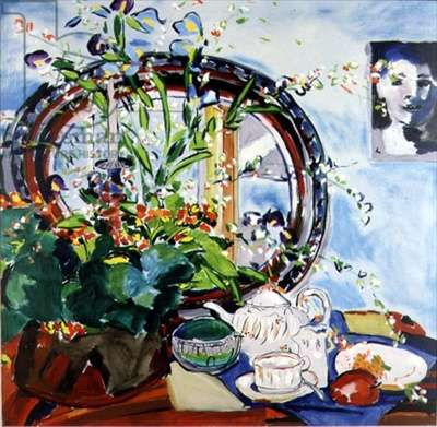The Weskers Green Glass Sugar Bowl (oil on canvas)