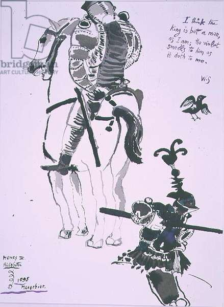"""Soldiers, """"I think the king is but a man, as I am; the violet smells to him as it doth to me"""" 1995 (pen and ink on paper)"""