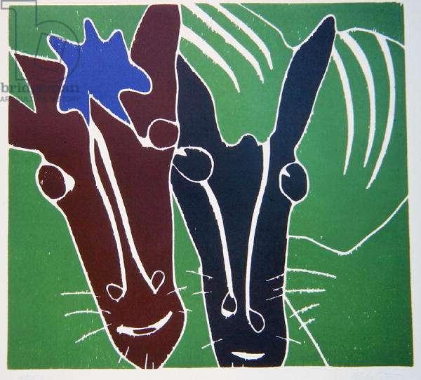 Horses, 1976 (jigsaw woodcut)