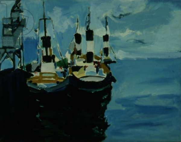 Tug Boat, Falmouth, 1977 (oil on canvas)