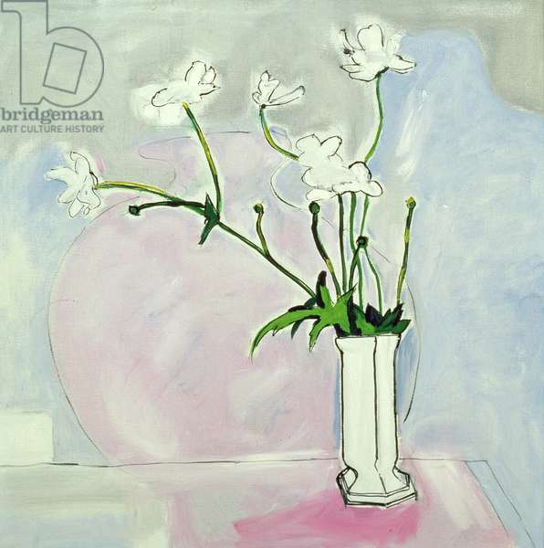 Flowers from Morfa Terrace (oil on canvas)