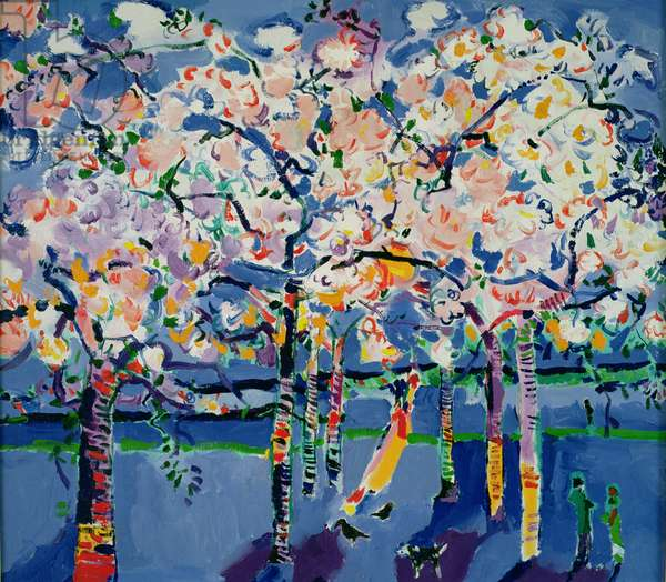 Summer Blossom in Battersea Park (oil on canvas)