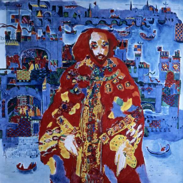 William Shakespeare in the Globe Theatre, 1988 (oil on canvas) (for detail see 91771-72)