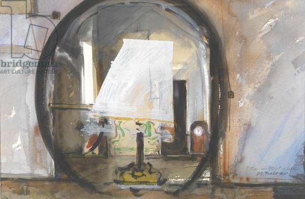 Anna Akhmatova's mirror, clock and desk in the Fountain House Museum (w/c on paper)