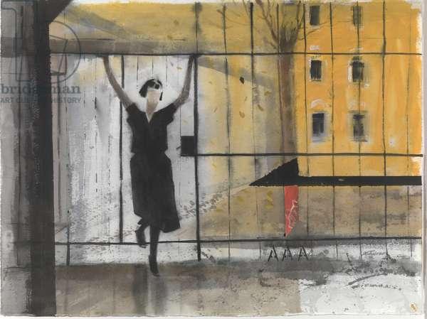Anna Akhmatova at the Fountain House 1920s (w/c on paper)