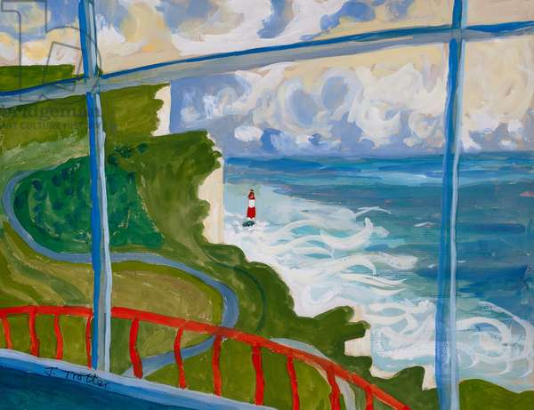 Beachy Head from Belle Tout Lighthouse, (gouche on canvas)