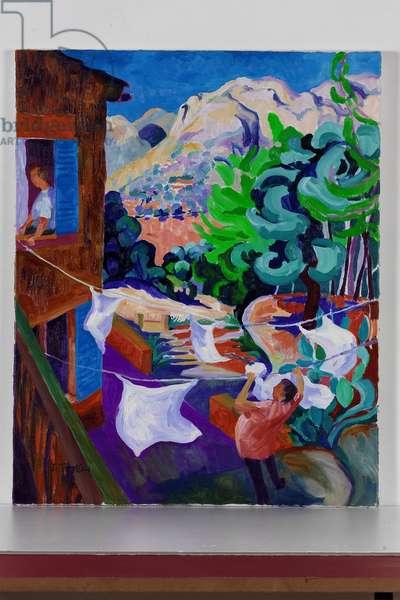 Washing, Mallorca, 2003 (oil on canvas)