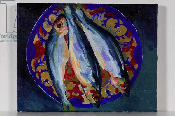 Fish on a Worcester Plate, 2003 (oil on canvas)