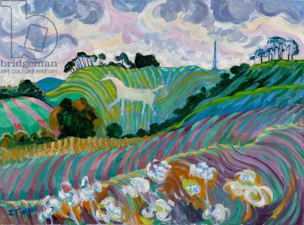 Cherhill Whitehorse, (oil on canvas)