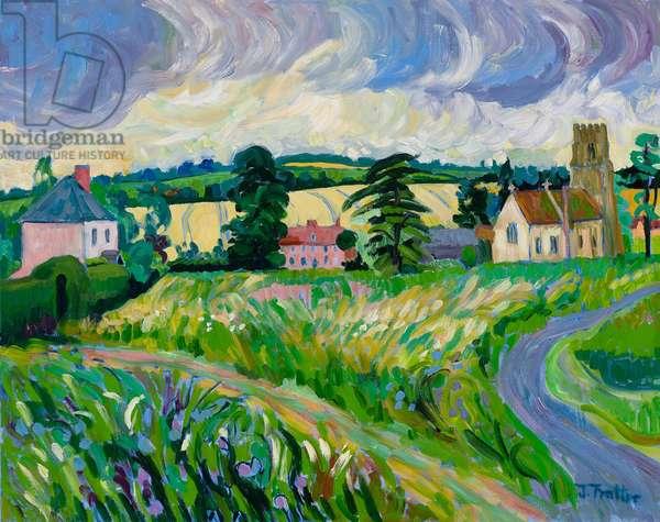 Suffolk, Hawkedon Church, (oil on canvas)