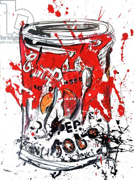 Soup Can Medium 1, 2018 (ink & acrylic paint on w/c paper)