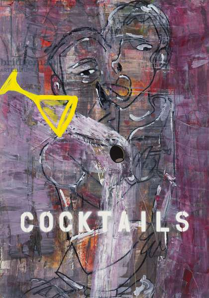 Cocktails, 2010 (mixed media on w/c paper mounted on panel with recipe on verso)