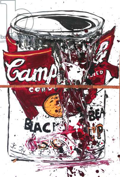 Soup Can Double Cad Red, 2018 (ink & acrylic paint on w/c paper)