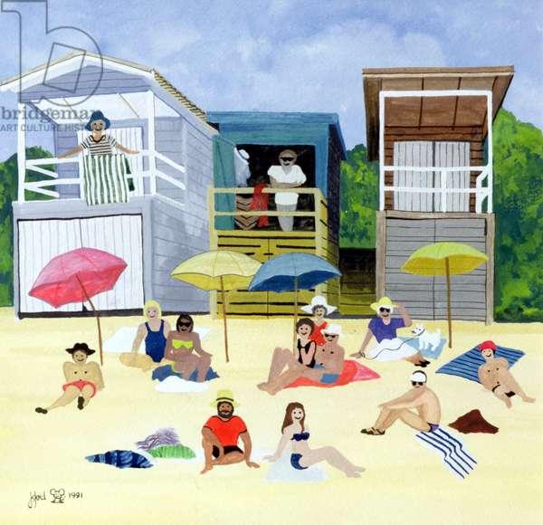 Beach Huts, 1991 (w/c)