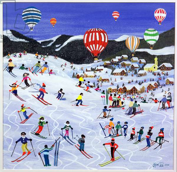 Ballooning over the piste, 1995 (w/c)