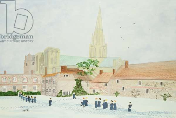 Chichester Cathedral and Visiting Choir (w/c on paper)