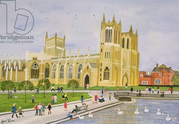Bristol Cathedral and College Green, 1989 (w/c on paper)