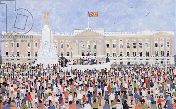 Crowds around the Palace, 1995 (w/c)