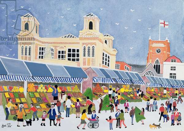 Kingston Market, Surrey (w/c on paper)