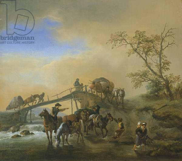 Travellers with packhorses and wagons near a wooden bridge, c.1655 (oil on canvas)