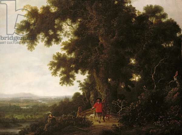 Landscape with Huntsmen and their Hounds (oil on canvas)