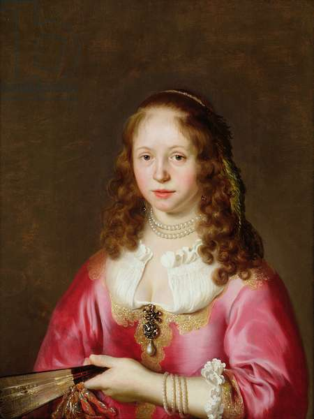 Portrait of a Girl in a Pink Dress Holding a Fan (oil on panel)