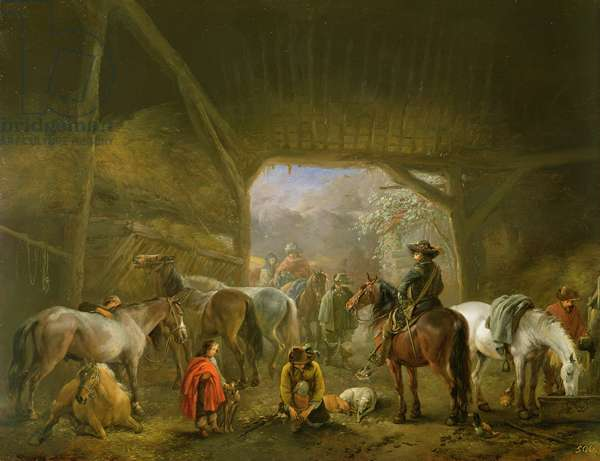 Sheltering from the Storm: a Stable with Travellers Resting on their Mounts
