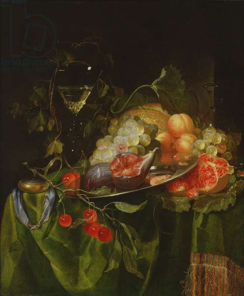 A still life with fruit, a glass of wine and a pocket watch, (oil on panel)