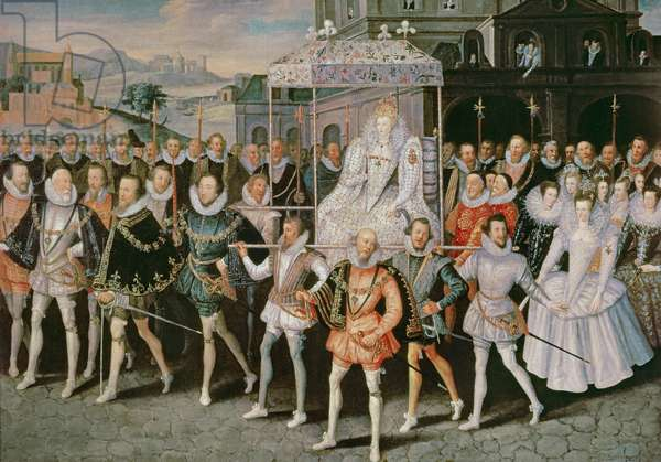 Queen Elizabeth I (1533-1603) being carried in Procession (Eliza Triumphans) c.1601 (oil on canvas)