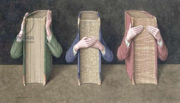 Three Wise Books, 2005 (w/c on paper)