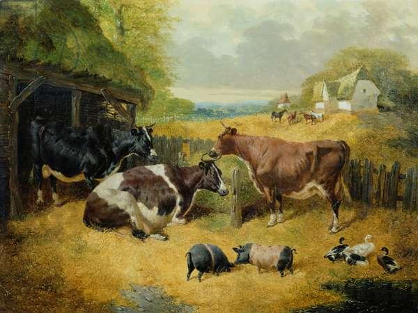 Farmyard Scene, 1853 (oil on canvas)