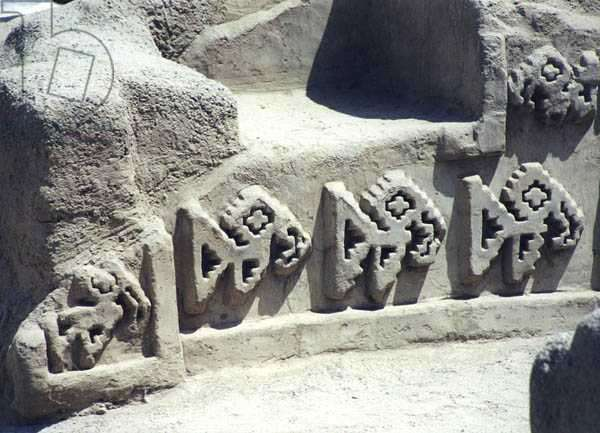 Detail from one of the walls inside the ruined pre-Inca city, built by the Chimu, c.1300 (photo)