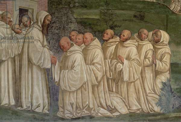 Benedictine Monks, from the Life of St. Benedict (fresco) (detail)