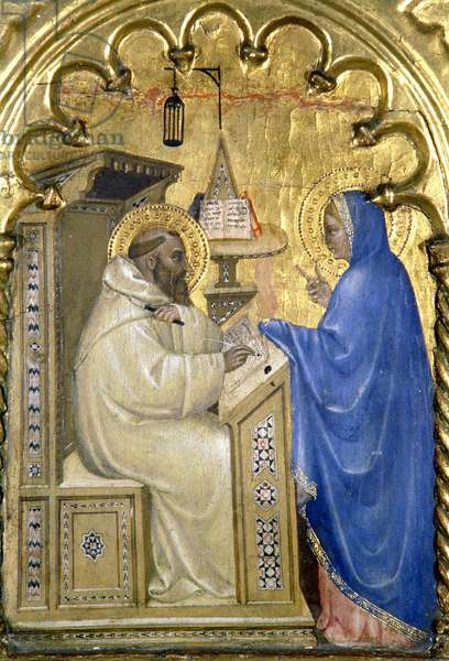 The Virgin appearing to St. Bernard, detail from a polytych depicting The Lives of the Saints, from the Salone del II Piano, 1353-63 (tempera on panel) (see 87028)