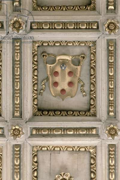 Medici coat of arms, from the soffit of the church (stucco)