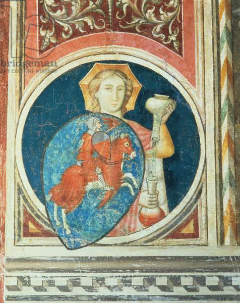 Allegorical figure of Temperance, one of several depictions of the Virtues framing Militant Justice from the Salone del Consiglio (Council Chamber) 1416-18 (fresco)