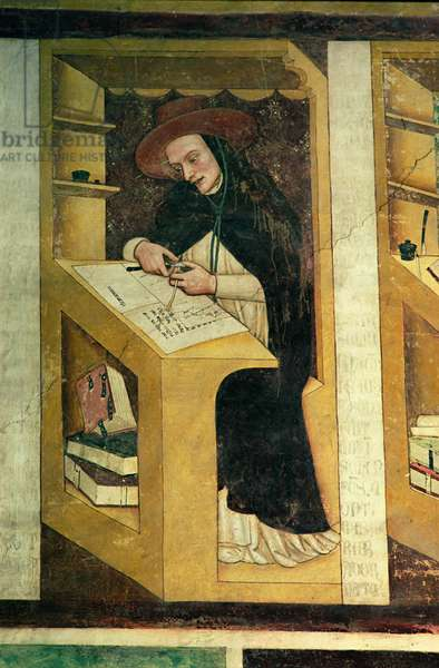 Dominican Monk at his Desk, from the Cycle of 'Forty Illustrious Members of the Dominican Order', in the Chapterhouse, 1342 (fresco)