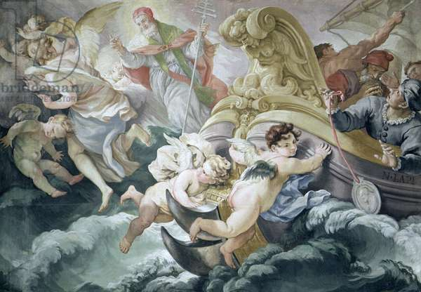 The Storm Miraculously Calmed on Contact with the Medallion of Pius V (1504-72) (oil on canvas)