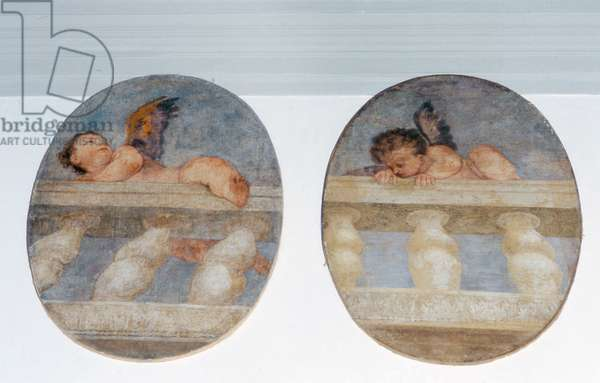 Two winged putti climbing over a balustrade, roundels from the sacristy (fresco)
