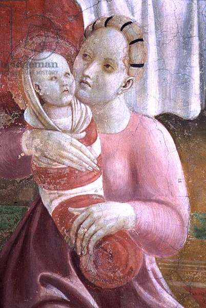 The Lives of The Virgin and St. Stephen, detail showing a mother and child, from the Cappella dell'Assunta (The Chapel of the Assumption) 1433-34 (fresco) (see 87067, 87069, 87075, 87079, 87109, 87110)