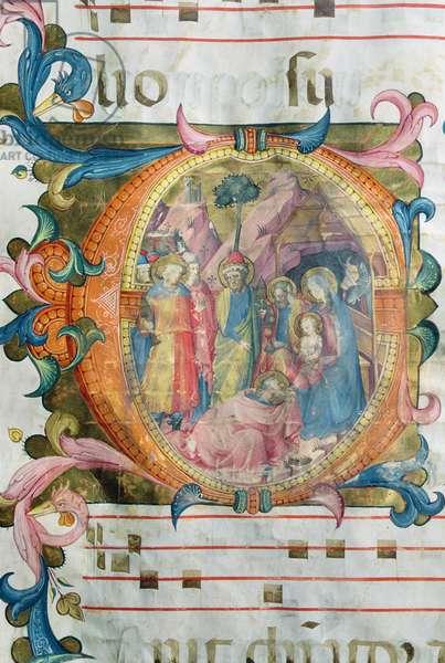Corale / Graduale no.5  Historiated initial 'O' depicting the Adoration of the Magi (vellum)