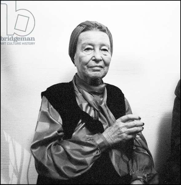 Simone de Beauvoir in Paris, 1986 (b/w photo)